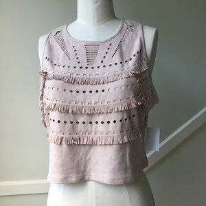 CHARLOTTE RUSSE Faux Suede Fringe Crop Top NWT